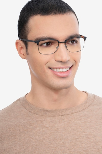 Osten Tortoise Metal Eyeglass Frames for Men from EyeBuyDirect, Front View