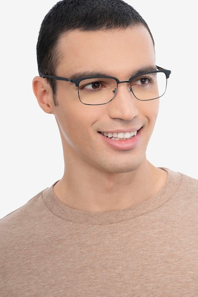 Osten Black Metal Eyeglass Frames for Men from EyeBuyDirect, Front View