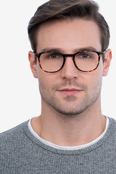 Toulouse Tortoise Acetate Eyeglass Frames for Men from EyeBuyDirect, Front View