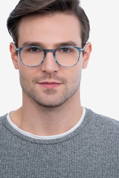 Toulouse Blue Metal Eyeglass Frames for Men from EyeBuyDirect, Front View