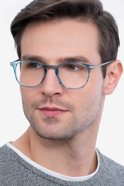 Toulouse Blue Metal Eyeglass Frames for Men from EyeBuyDirect