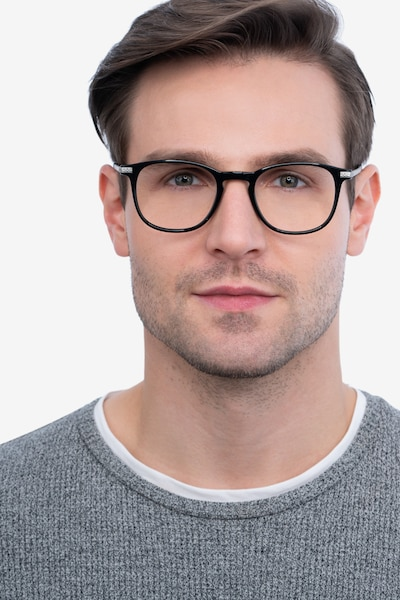 Toulouse Black Metal Eyeglass Frames for Men from EyeBuyDirect, Front View