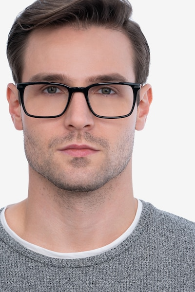 Nox Black Acetate Eyeglass Frames for Men from EyeBuyDirect, Front View