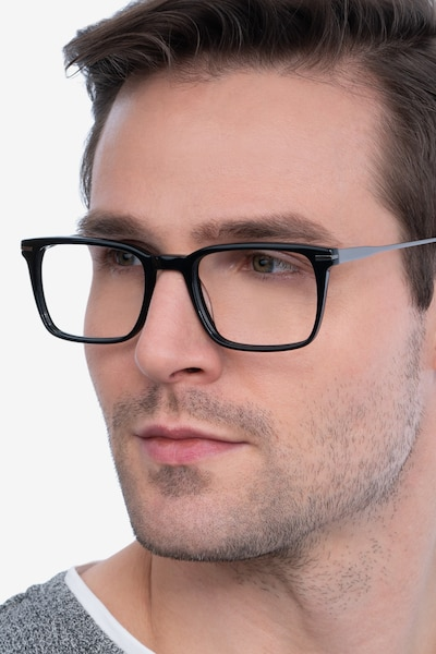 Nox Black Acetate-metal Eyeglass Frames for Men from EyeBuyDirect