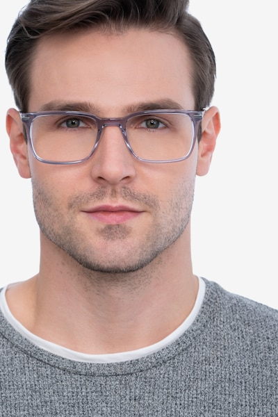 Nox Gray Metal Eyeglass Frames for Men from EyeBuyDirect, Front View