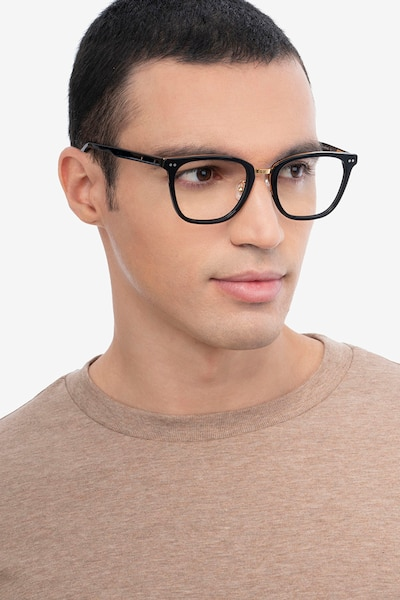 Biblio Black Metal Eyeglass Frames for Men from EyeBuyDirect, Front View