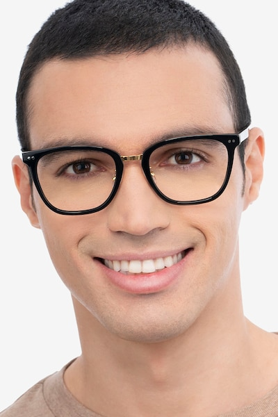 Biblio Black Metal Eyeglass Frames for Men from EyeBuyDirect