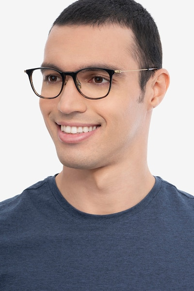 Walker Black Brown Metal Eyeglass Frames for Men from EyeBuyDirect, Front View