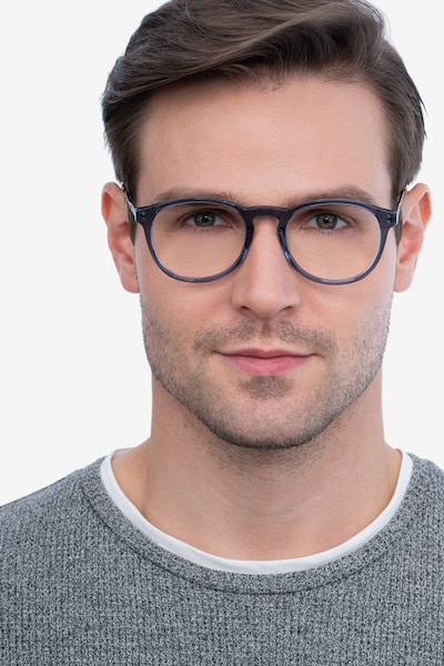 Akio Gray Acetate Eyeglass Frames for Men from EyeBuyDirect, Front View