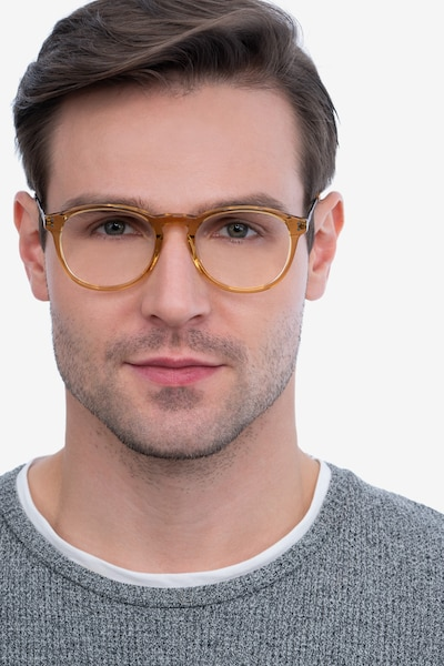 Akio Yellow Acetate Eyeglass Frames for Men from EyeBuyDirect, Front View