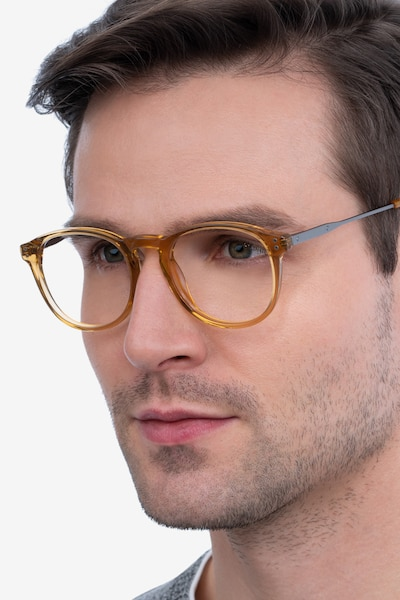 Akio Yellow Acetate Eyeglass Frames for Men from EyeBuyDirect