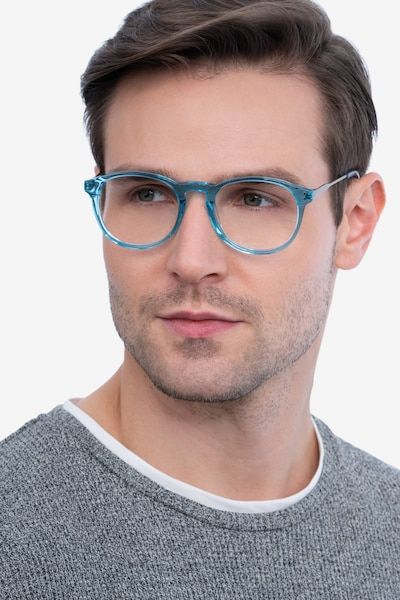 Akio Blue Metal Eyeglass Frames for Men from EyeBuyDirect, Front View