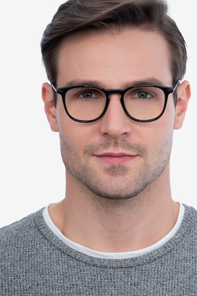 Villeneuve Black Acetate-metal Eyeglass Frames for Men from EyeBuyDirect