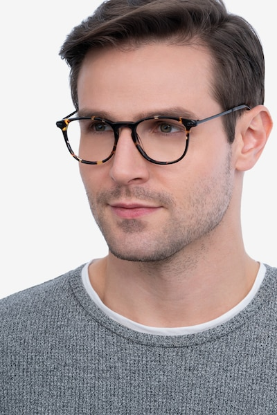 Villeneuve Tortoise Acetate Eyeglass Frames for Men from EyeBuyDirect, Front View