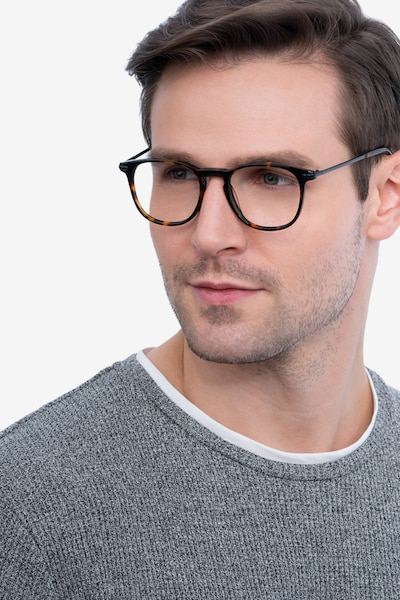 Villeneuve Dark Tortoise Metal Eyeglass Frames for Men from EyeBuyDirect, Front View