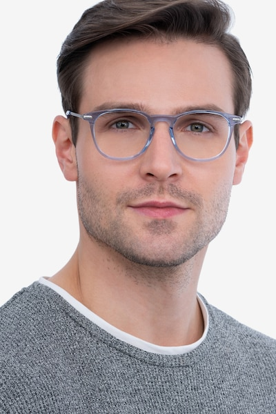 Villeneuve Blue Metal Eyeglass Frames for Men from EyeBuyDirect