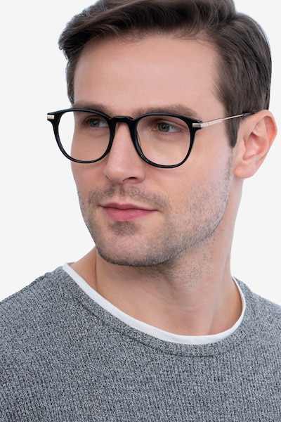 Giverny Black Metal Eyeglass Frames for Men from EyeBuyDirect