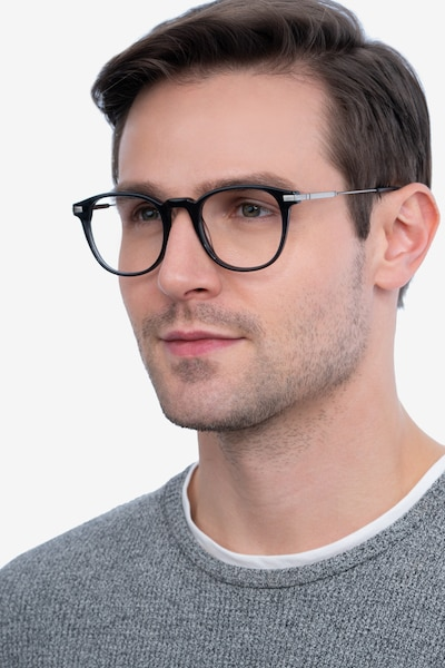 Giverny Gray Metal Eyeglass Frames for Men from EyeBuyDirect, Front View