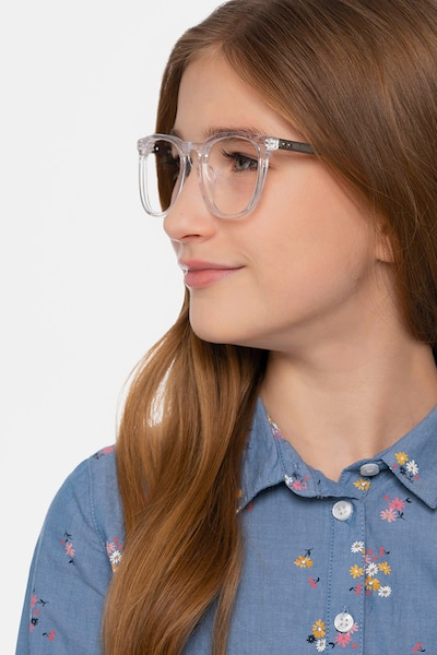 Vibes Clear Metal Eyeglass Frames for Women from EyeBuyDirect, Front View