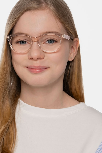 Story Clear Pink Acetate-metal Eyeglass Frames for Women from EyeBuyDirect, Front View