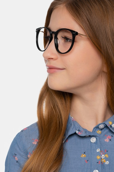 Clever Black Metal Eyeglass Frames for Women from EyeBuyDirect, Front View