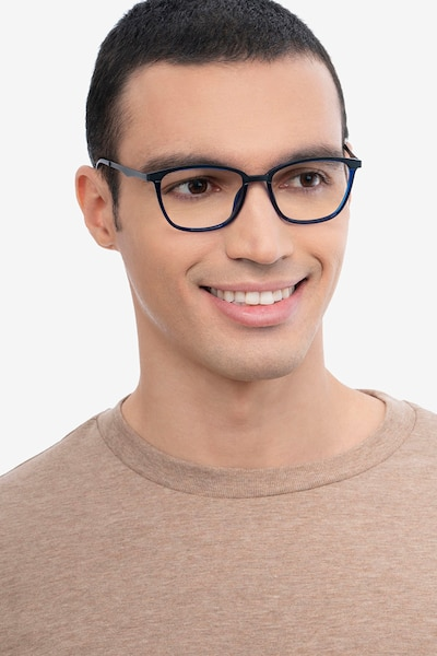 Traverse Navy Acetate-metal Eyeglass Frames for Men from EyeBuyDirect, Front View