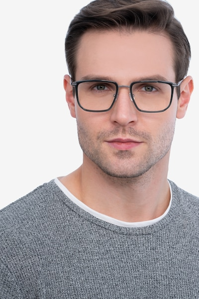 Glimpse Gray Metal Eyeglass Frames for Men from EyeBuyDirect, Front View