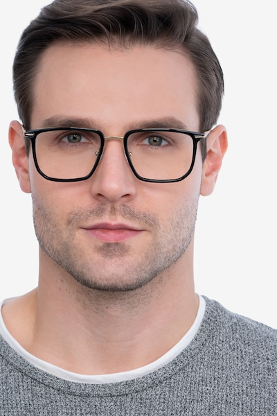 Glimpse Black gold Acetate Eyeglass Frames for Men from EyeBuyDirect, Front View