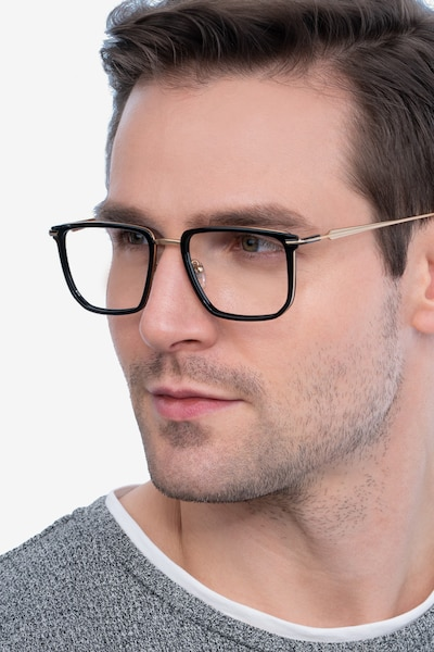 Glimpse Black gold Acetate Eyeglass Frames for Men from EyeBuyDirect