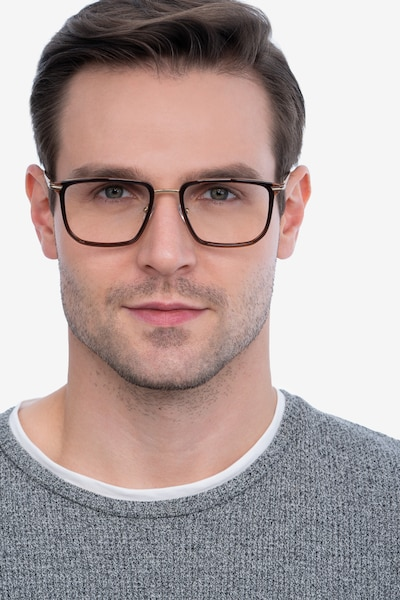 Glimpse Brown gold Metal Eyeglass Frames for Men from EyeBuyDirect, Front View