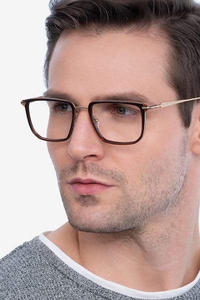 Glimpse Brown gold Metal Eyeglass Frames for Men from EyeBuyDirect