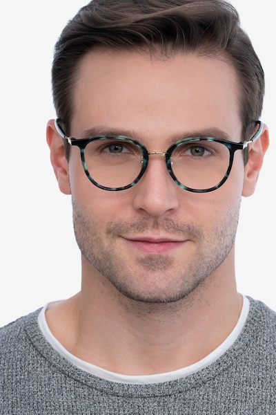 Aloft Green Floral Acetate Eyeglass Frames for Men from EyeBuyDirect, Front View