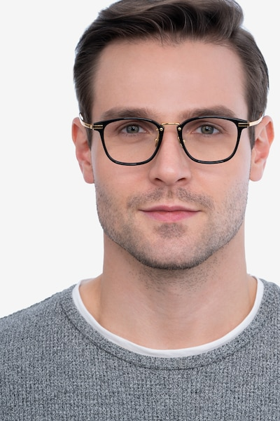 Terra Black Acetate Eyeglass Frames for Men from EyeBuyDirect, Front View