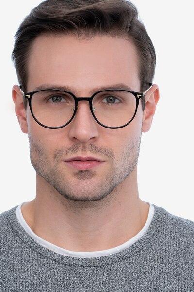 Peak Black Metal Eyeglass Frames for Men from EyeBuyDirect, Front View