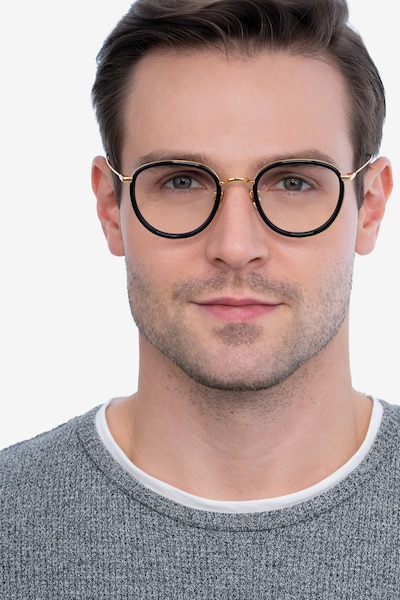 Thrive Black Metal Eyeglass Frames for Men from EyeBuyDirect, Front View