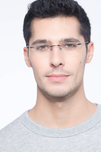 Summer Gunmetal Metal Eyeglass Frames for Men from EyeBuyDirect, Front View