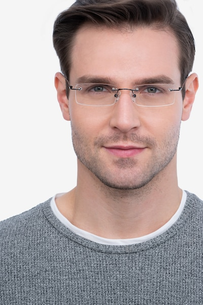 Billings Black Metal Eyeglass Frames for Men from EyeBuyDirect, Front View