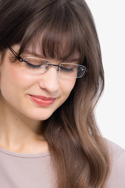 Ottawa Brown Metal Eyeglass Frames for Women from EyeBuyDirect, Front View