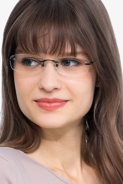 Clem Black Metal Eyeglass Frames for Women from EyeBuyDirect, Front View