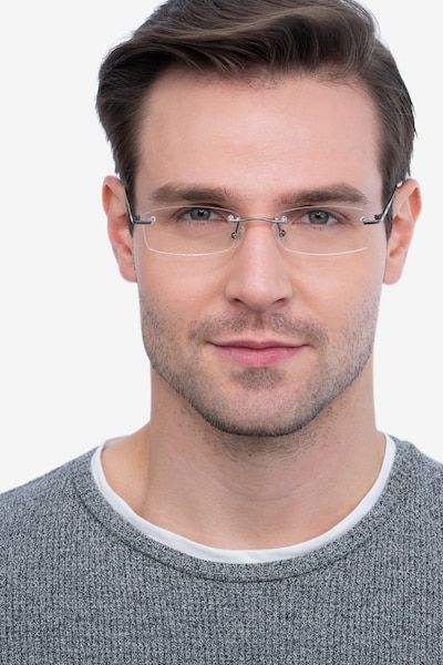 Connie Gunmetal Metal Eyeglass Frames for Men from EyeBuyDirect