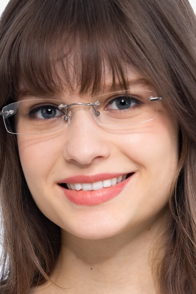 Connie Gunmetal Metal Eyeglass Frames for Women from EyeBuyDirect, Front View