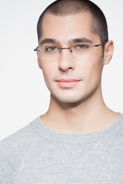 Benson Black Metal Eyeglass Frames for Men from EyeBuyDirect, Front View
