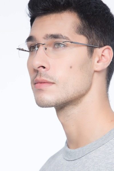 Pickering Gunmetal Metal Eyeglass Frames for Men from EyeBuyDirect, Front View