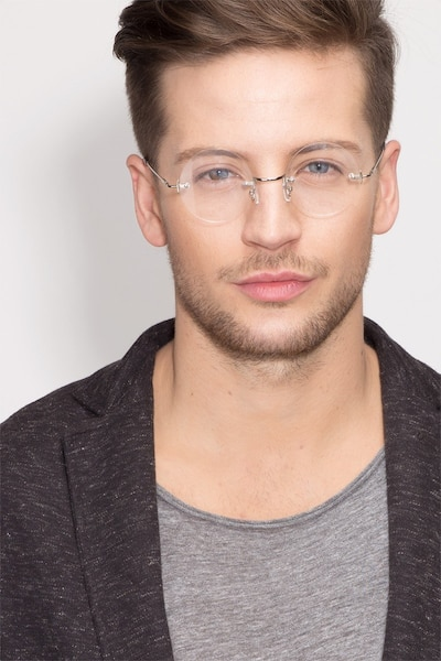 Palo Alto Silver Metal Eyeglass Frames for Men from EyeBuyDirect