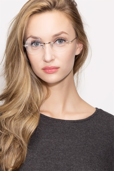 Palo Alto Silver Metal Eyeglass Frames for Women from EyeBuyDirect, Front View