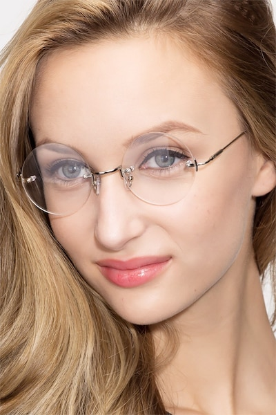 Palo Alto Silver Metal Eyeglass Frames for Women from EyeBuyDirect