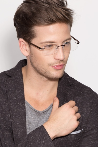 Vernon Brown Acetate-metal Eyeglass Frames for Men from EyeBuyDirect, Front View