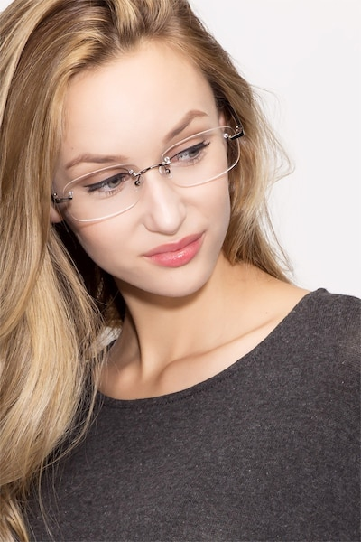 Vernon Gunmetal Acetate Eyeglass Frames for Women from EyeBuyDirect, Front View