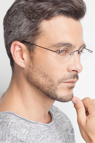 Silver Line Black Metal Eyeglass Frames for Men from EyeBuyDirect, Front View