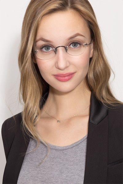 Silver Line Black Metal Eyeglass Frames for Women from EyeBuyDirect, Front View
